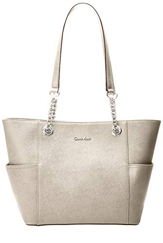 (Calvin Klein Hayden Saffiano Leather East/West Top Zip Chain Tote, buck wheat)
