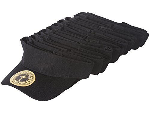 TopHeadwear 12 Pack Youth Size Sun Visor - Black