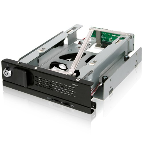 - ICY DOCK Tray-Less 3.5 SATA Hard Drive Hot Swap Mobile Rack with 80mm Cooling Fan for 5.25 Drive Bay - TurboSwap MB171SP-B