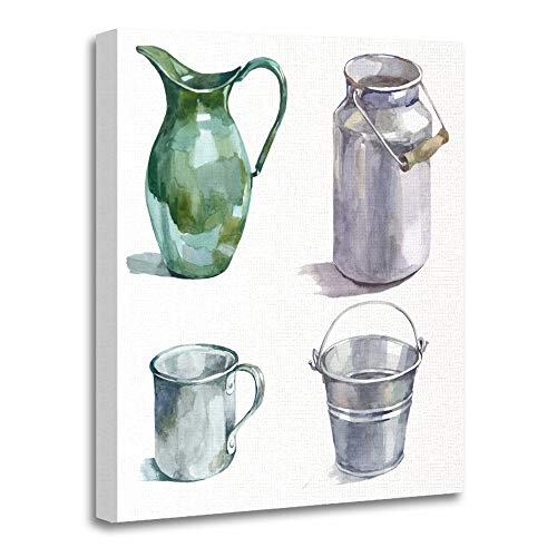 Emvency Painting Canvas Print Artwork Decorative Print Wooden Frame Milk Watercolor Metal Housewares Hand Painting White Can Bucket Pitcher Draw 20x30 Inches Wall Art for Home Decor