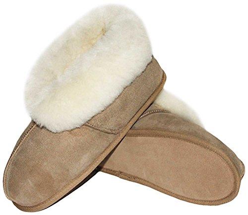 Pantofole Shearling Roku, Scarpe Capanna Caduto Per Le Donne E Gli Uomini Con Suola In Cuoio Beige Di Alta Qualità