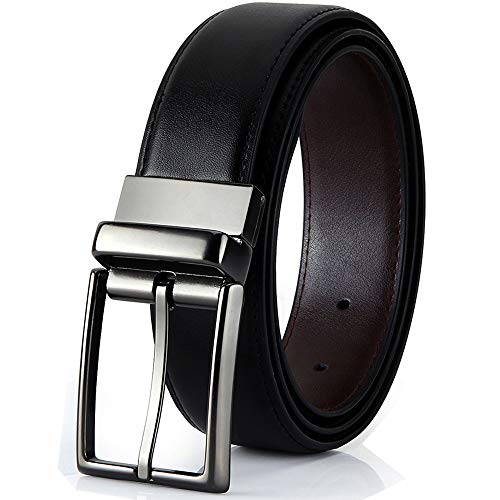 Gesha Mens Leather Belts,Reversible Black Dress Belts for Men,with Rotated Buckle Gift Box (43Zoll(Taille 30-35), Black/Brown)