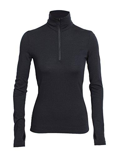 Icebreaker Damen Funktionsshirt Tech Top LS Half Zip, Black, S, 100524001