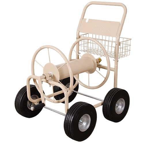 AM Leonard Steel 4 Wheel Hose Reel Wagon with Flat Free Tires - 300 Foot Hose Capacity, Beige