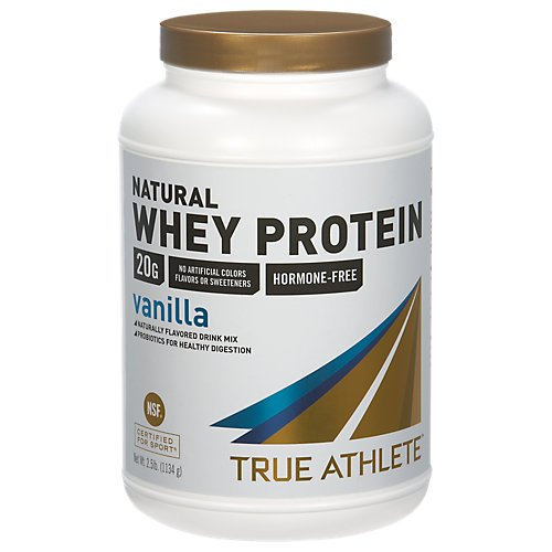 True Athlete Natural Whey Protein Vanilla, 20g of Protein per Serving Probiotics for Digestive Health, Hormone Free NSF Certified for Sport 2.5 Pound Powder