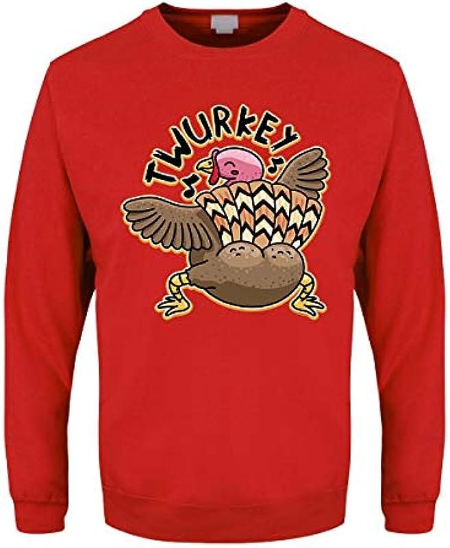 Grindstore Męskie Sweater Twurkey Weihnachtspullover rot: Odzież