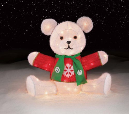 (26 Inch Chenille Teddy Bear Tinsel Lighted Sculpture - 70 Clear Lights)