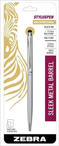 Zebra StylusPen Twist Retractable Ballpoint Pen, Fine Point, 0.7mm, Black Ink, Silver Barrel, 1-Count