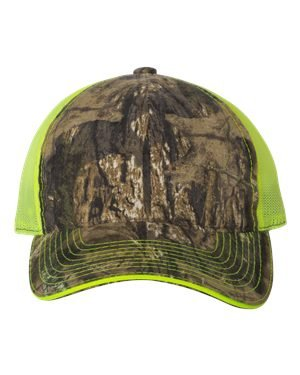 Outdoor Cap Washed Brushed Mesh Cap, Mossy Oak Country/ Neon Yellow, One Size - Panel Brushed Cotton Mesh Cap