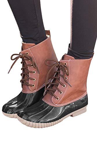 Ivay Women's Lace Up Two Tone Combat Waterproof Duck Rain Boot Outdoor Shoes U1 White