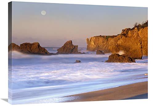 Global Gallery Seastacks and Full Moon at El Matador Beach, California-Canvas - Poster Art Matador
