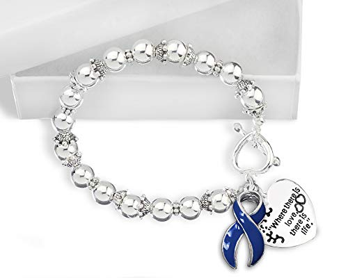 Where There is Love Dk Blue Ribbon Bracelet in a Gift Box (1 Bracelet - Retail) ()
