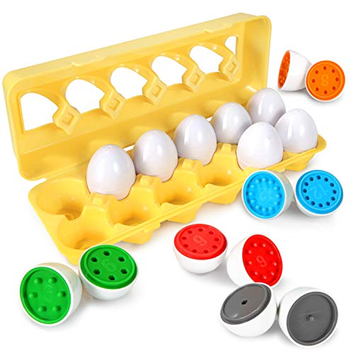 TomatoFish Color Number Matching Egg Set - Preschool STEM Toys - Educational Color & Shape/Number Recognition Skills Learning Toys - Sorting Puzzle for Toddlers Boys Girls - Easter Match Eggs (Number)
