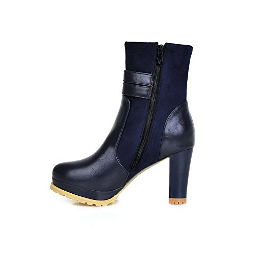 AgooLar Damen Reißverschluss Rund Zehe Hoher Absatz Mitte-Spitze Stiefel Blau
