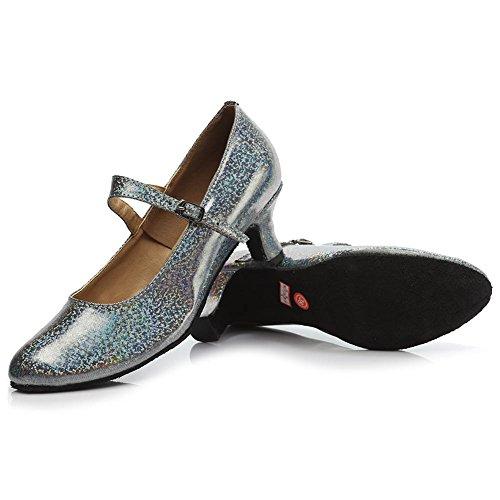HROYL Women MF5-1605 Grey PU Latin Dance Shoes 7 UK kSyjYu