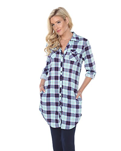 White Mark 'Piper' Button-Front Plaid Dress Shirt in Mint & Grey - 3X from White Mark