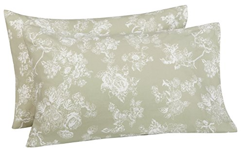 Pinzon 170 Gram Velvet Flannel Pillowcases - Standard, Floral Sage