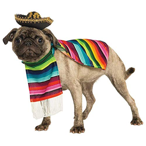 POPETPOP Dog Poncho from Mexican Serape Blanket with Mexican Sombrero -Cinco De Mayo Dog Coat-Dog Halloween Costumes-Size S]()