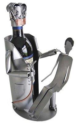 Dentist with Patient Wine Bottle Holder H&K Steel Sculpture
