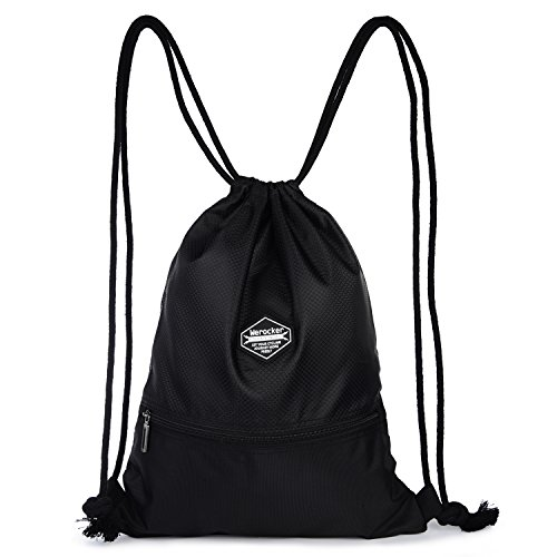 BagDancer Waterproof Drawstring Gym Bag , Black