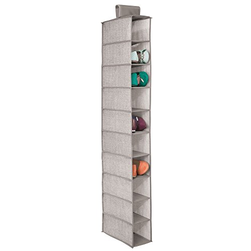 mDesign Soft Fabric Closet Organizer - Holds Shoes Handbags, Clutches, Accessories - 10 Shelves in Each Over Rod Hanging Storage Unit - Pack of 2, Textured Print, Solid Trim in Linen by mDesign (Image #5)