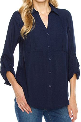 KLKD Women's Double Pocket Cuffed Long Sleeve Button Down Blouse Top,D1L01_Navy,Small