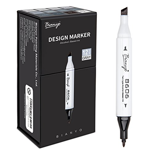 Bianyo Cool Greys Art Marker Pens- Dual Tip Permanent Markers for Drawing, Shading, Outlining, Illustrating, Sketching, Colorless Blender, 12-Count]()