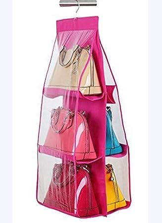 Styleys 6 Pocket Large Clear Purse Handbag Hanging Storage Bag Organizer  Closet Tidy Closet Organizer Wardrobe