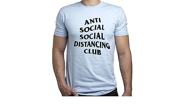 Social Distance Anti Social Coronavirus Tshirt Camiseta para Hombre Azul Claro S: Amazon.es: Ropa y accesorios