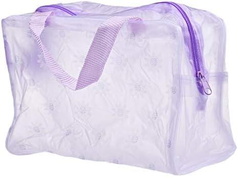 ZSBH 5色がアップオーガナイザーバッグトイレタリーお風呂収納袋の女性の防水透明な花PVCトラベル化粧バッグを作ります (Color : PURPLE)