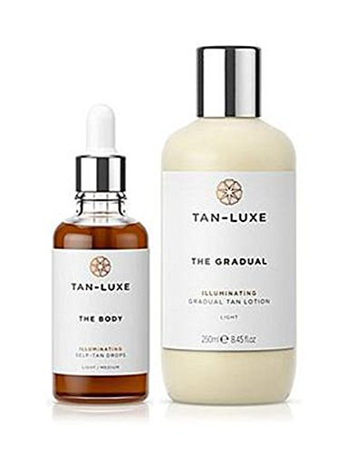 Tan-Luxe The BODY Anti-Age Rejuvenating Self-Tan Serum Drops + Self Tanning Lotion Medium/Dark