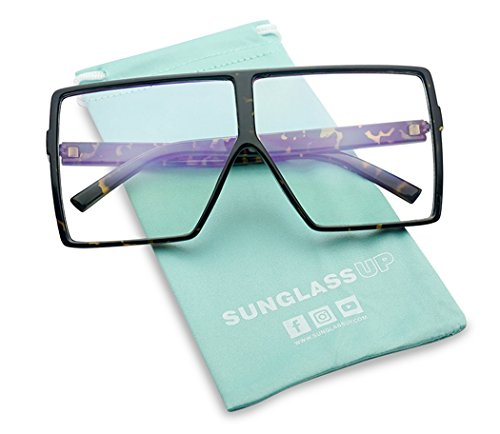 Big XL Large Oversized Super Flat Top Square Two Tone Color Fashion Sunglasses (Tortoise Frame/Clear Lens, ()