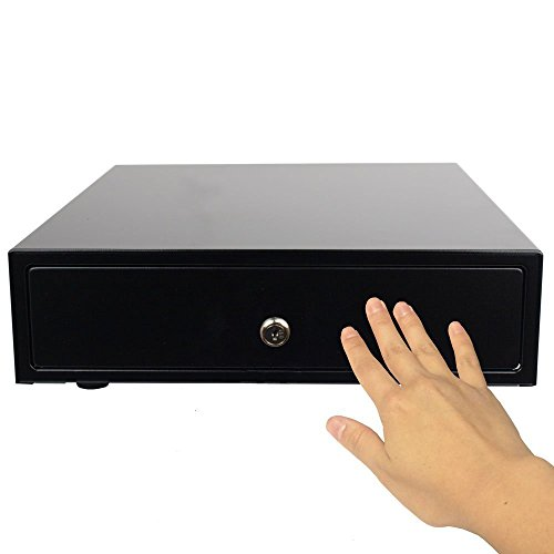 "Angel POS Manual Open Portable 12"" Point of Sale/POS Cash Drawer Key-Lock Heavy Duty Cash Register w/Bill & Coin Trays (Black)"