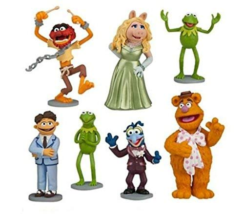 Muppets Kermit Ms Piggy Playset 7 Figure Cake Topper Toy Doll Set