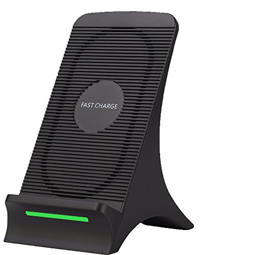 Fast Wireless Charger,Fast Qi Wireless Charger with Cooling Fan Stand Pad Mat Charging Dock Station for Samsung Galaxy S8 S8 Plus S7 S7 Edge S6 Edge Plus+ Note 5 7 8 (Wall Adapter Excluded)