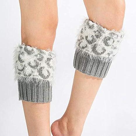Calzini da gamba calda, Stivali in eco-pelliccia lavorata a maglia imitazione scaldamuscoli caldi in lana Leggings in lana pantaloncini in chiffon piumato leopardati ribaltabili (Colore: Grigio)