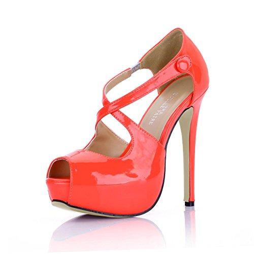 Best 4U? Women's Shoes Patent Leather Buckle Stiletto 14CM High Heels 3CM Platform Round Toe Spring Autumn Shoes Orange