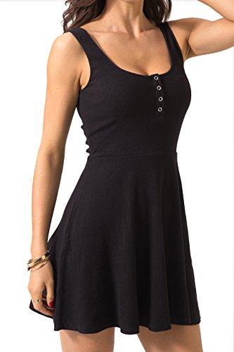 Chifave Women s Casual Sleeveless High Waist Slim Fit Flare Skater Mini  Tank Dress 598d37553