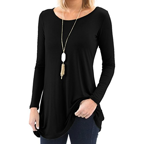 Bella Women's Long Sleeve Boatneck Tunic with Symmetrical Hem - Super Soft Loose Fit T-Shirt Tunic Top, Perfect Casual Blouse for Leggings & Jeans - X-Large - Black