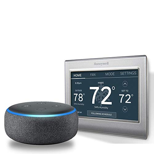 Honeywell Home Wi-Fi Smart Color Programmable Thermostat with Echo Dot (3rd Gen) – Charcoal