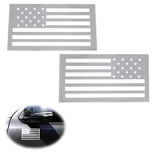 Chevrolet Hood Letters - iJDMTOY (2) Reflective Silver/White US Flag Vinyl Decal Stickers For Dodge Chevy GMC Ford Nissan Toyota Truck SUV Side Doors