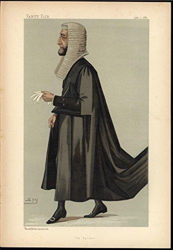 Arthur Wellesley Peel Speaker MP Caricature 1887 old VANITY FAIR COLOR print