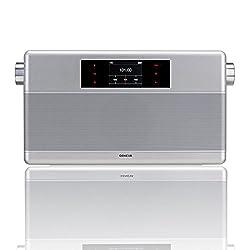 Geneva WorldRadio Portable HiFi System with FM Clock Radio, Bluetooth (Silver)