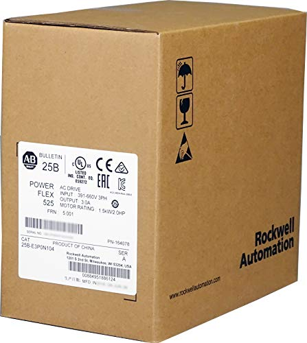 Allen-Bradley 25B-E3P0N104 PowerFlex 525 AC Drive, with Embedded EtherNet/IP and Safety, 600 VAC, 3 Phase, 2 HP, 1.5 kW Normal Duty; 2 HP, 1.5 kW Heavy Duty, Frame A, IP20 NEMA/Open Type, No Filter