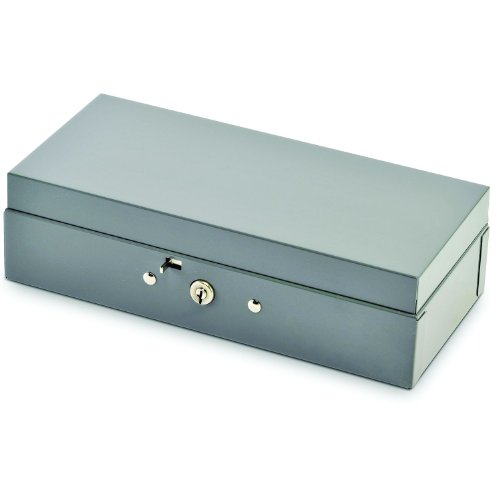 STEELMASTER Locking Steel Bond Box with Cash Tray, Includes Keys, 10.25 x 2.88 x 4.75 Inches, Gray (2212CBTGY)