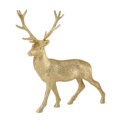 Christmas Tablescape Decor - Majestic Gold Porcelain Glitter Reindeer Stag