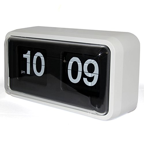 KABB Modern Minimalist Mechanical Retro Flip Down Desk & Wall Clock with Internal Gear Operated (White-Plus)
