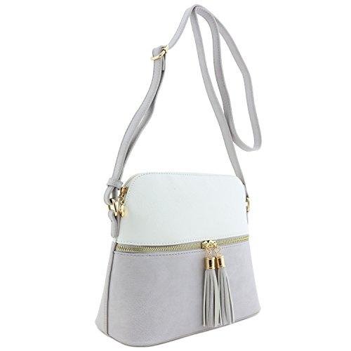 Tassel Accent Medium Crossbody Bag White/Glaciar - Tone Tassel Two