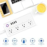 LAYOPO WiFi Smart Power Strip, Surge Protector Compatible with Alexa,Google Home and IFTTT,Smart Multiple Plug with 4 Outlet and 4 USB Port-App Control Appliances,Individual Control