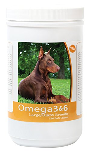 (Healthy Breeds Dog Omega 3 & 6 Fish Oil Soft Chews for Doberman Pinscher - Large Dog Formula - Over 40 Breeds -Supplement with Anchovy, Krill Oil - 120 Count - HP Skin and Coat Support)